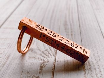 Copper Bar Key Ring Textured Finish