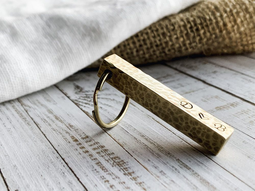 Brass Bar Key Ring with Hammered Textured