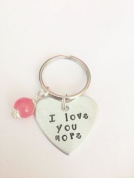 I Love You More Heart Keyring