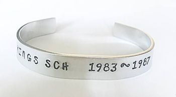 Personalised School Leavers Cuff Bracelet