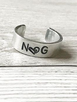 Hand Stamped Initials Cuff Ring