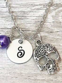 Personalised Sugar Skull Pendant Necklace