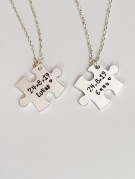 Personalised Matching Jigsaw Piece Necklaces