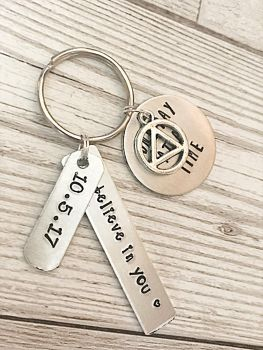 Hand Stamped 'One Day At A Time' Recovery Keyring