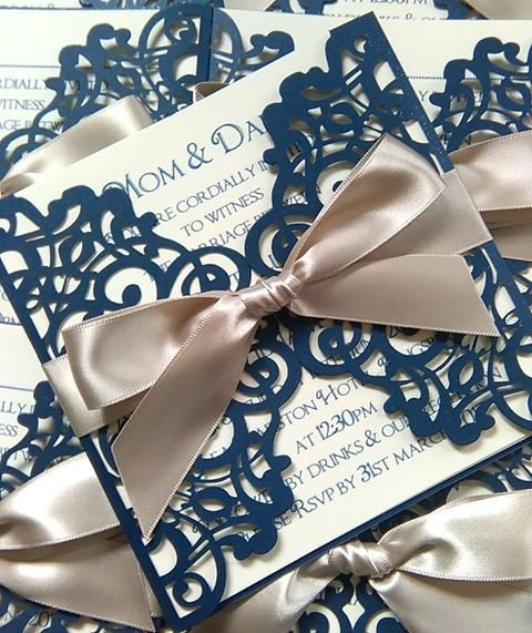 Navy laser cut invitation