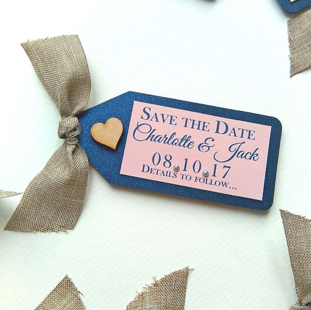 Rustic burlap save the date magnet tags