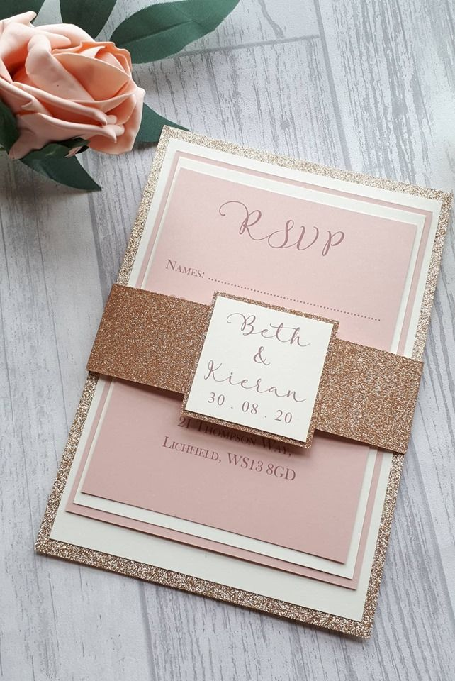 Glitter mounted card set and wrap