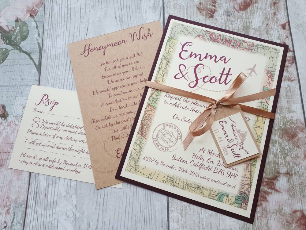 Travel themed cards and ribbon wrap