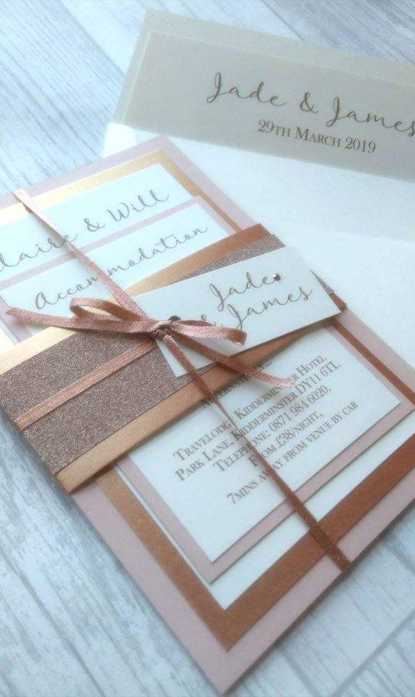 Shimmer mounted card set with ribbon & glitter wrap
