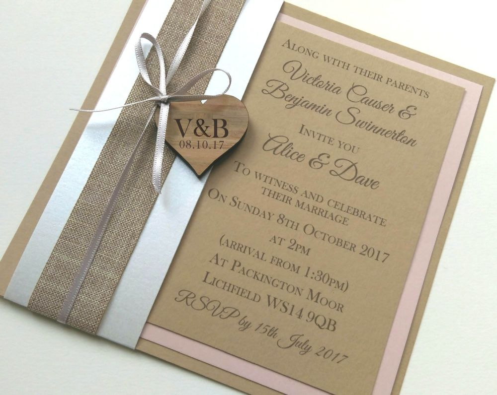 Card set with wrap & wooden heart embellishment