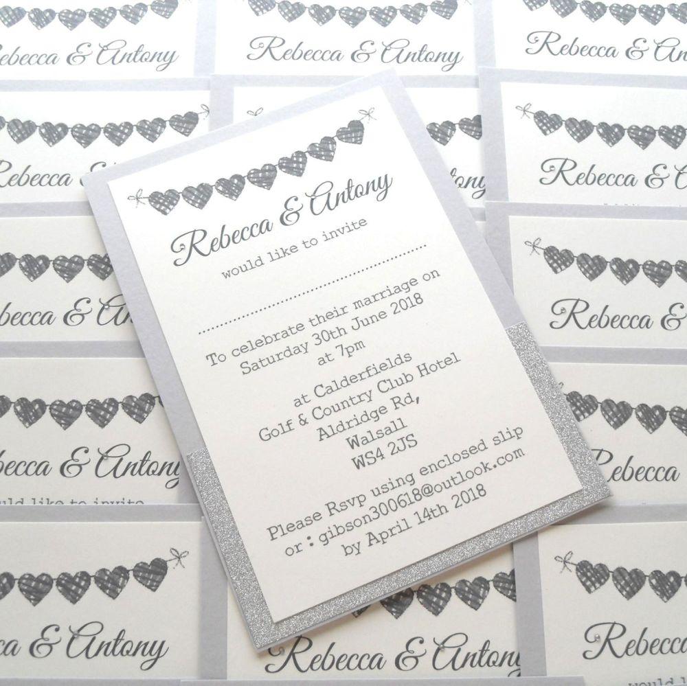 Glitter panel invitation card