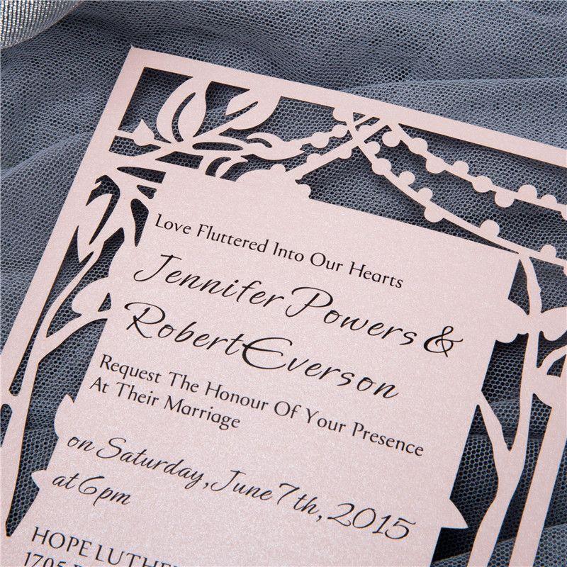 Flat laser cut card invitation