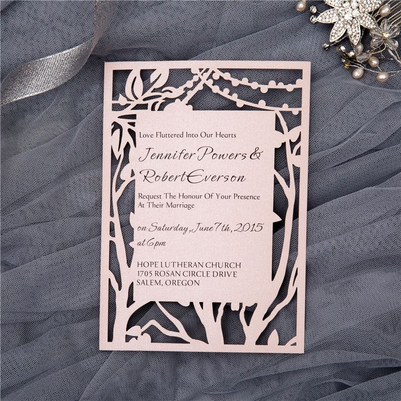 Flat laser cut card invitations