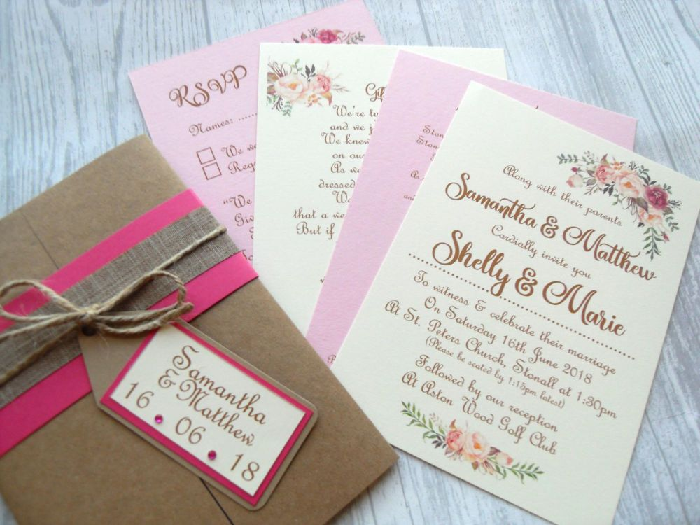 Gatefold invite with wrap and tag