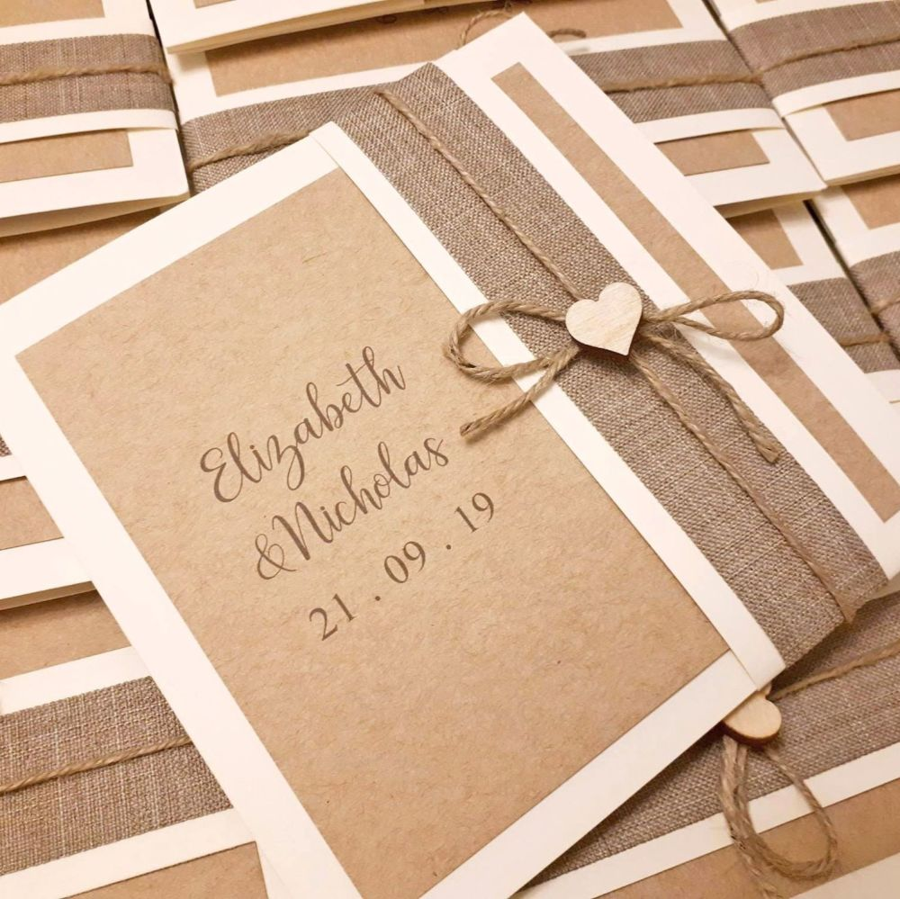 Rustic pocket fold invites with wrap