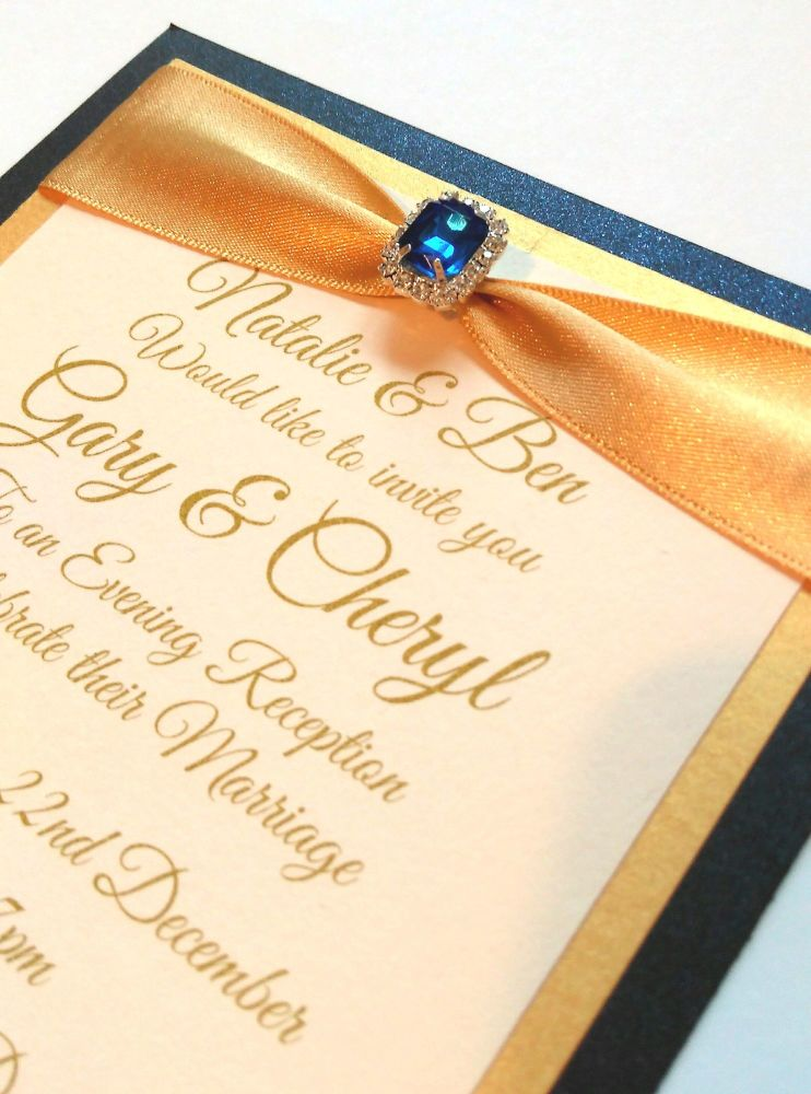 """Evening invitation - Matching 7x5"""" with ribbon and embellishment"""