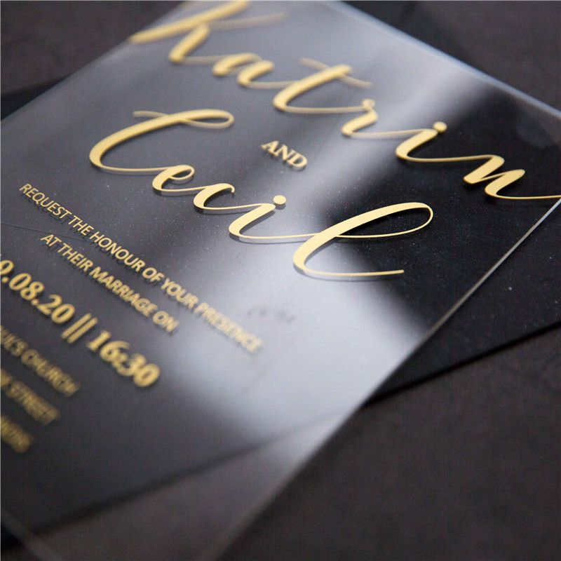 40 Acrylic foil printed invitations