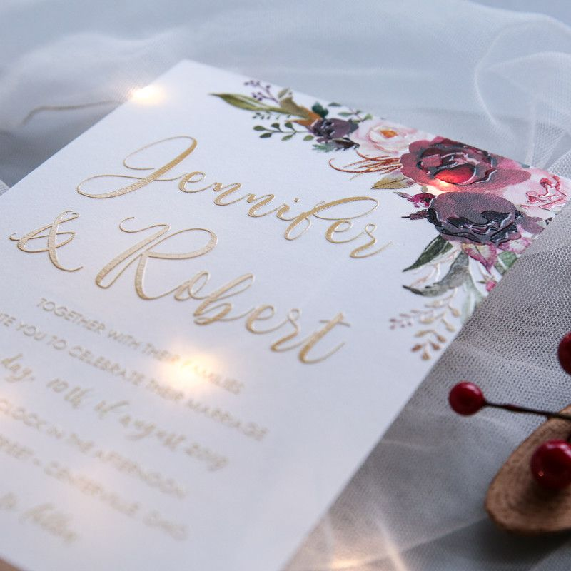 40 x Vellum UV floral printed invitations