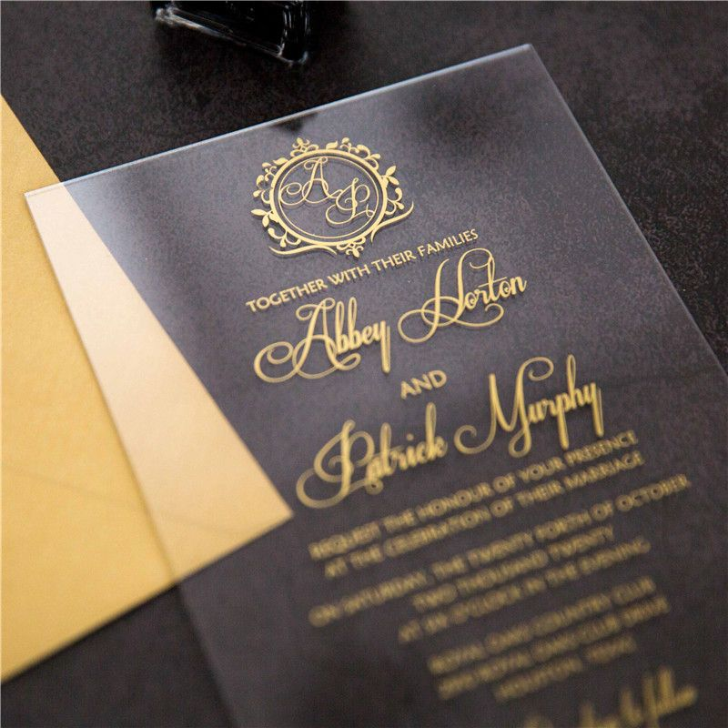 1 (sample) acrylic foil printed invitation