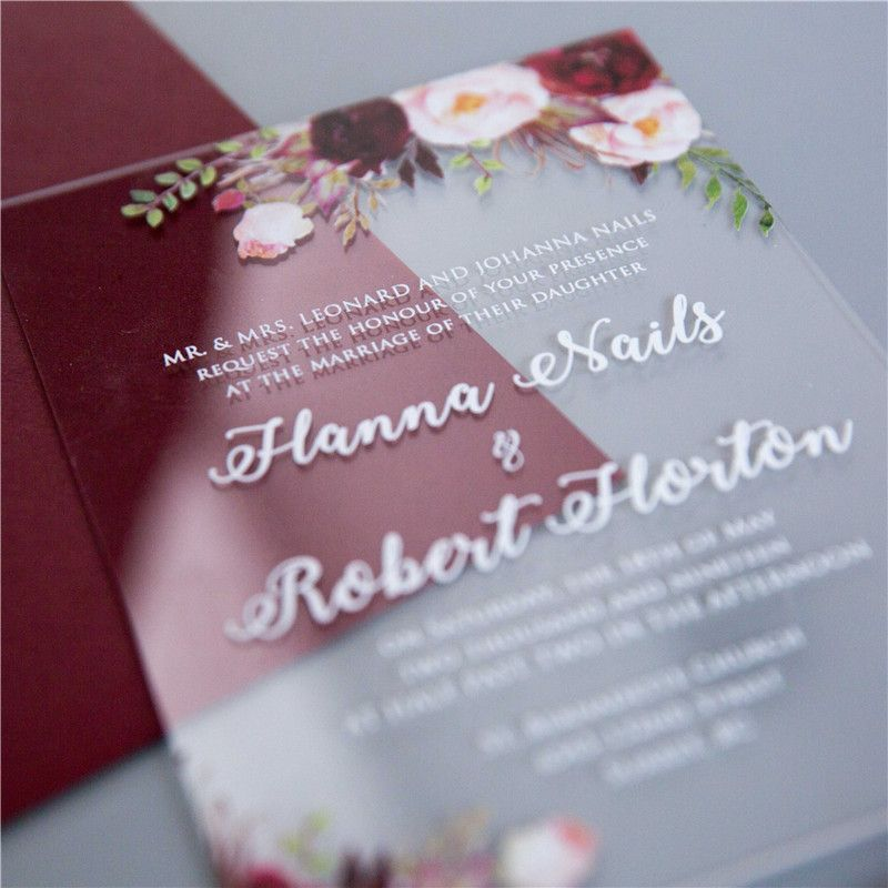 1 (sample) acrylic UV printed floral invitation