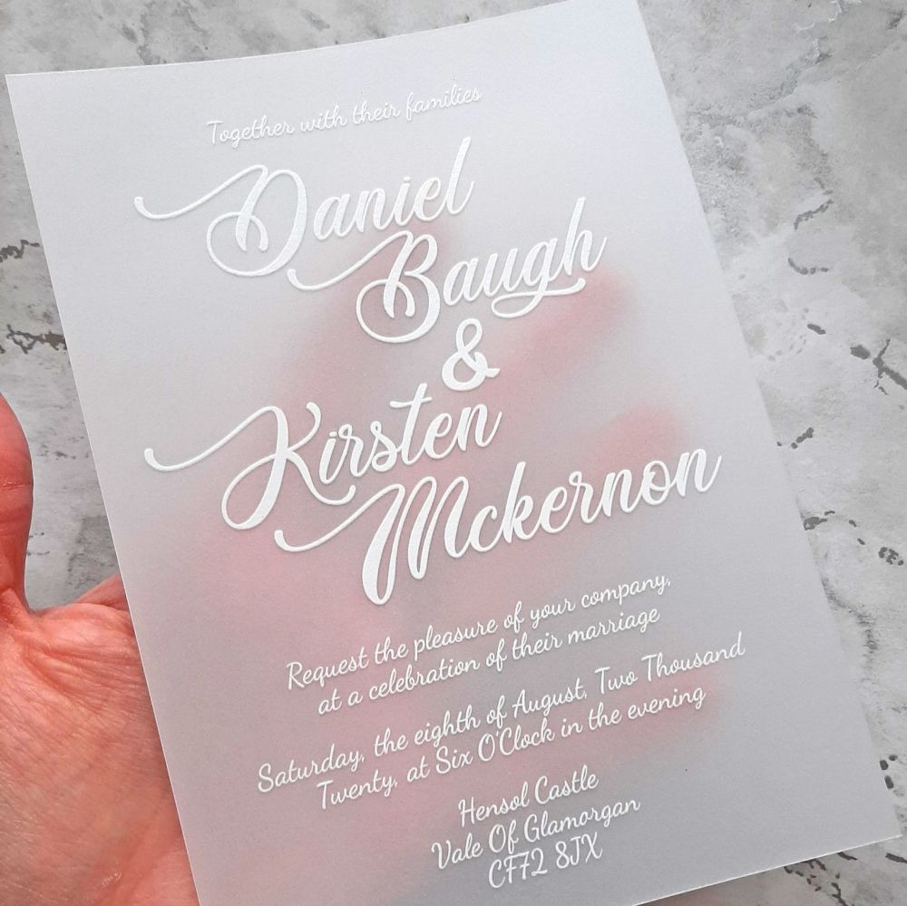 Sample vellum UV printed invitation