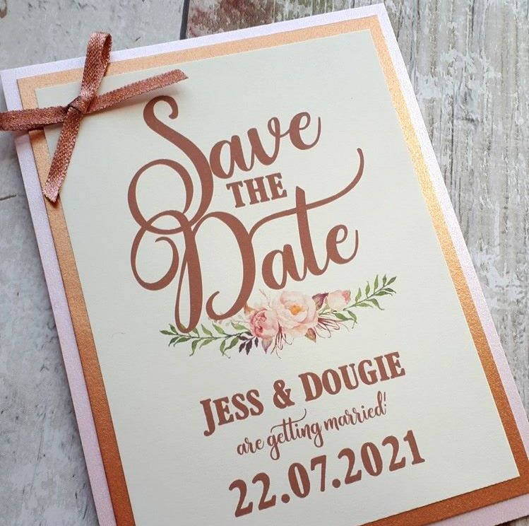 Corner bow save the dates