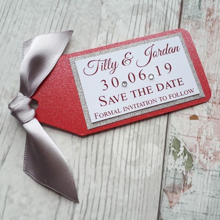 Glitter save the date magnet tags