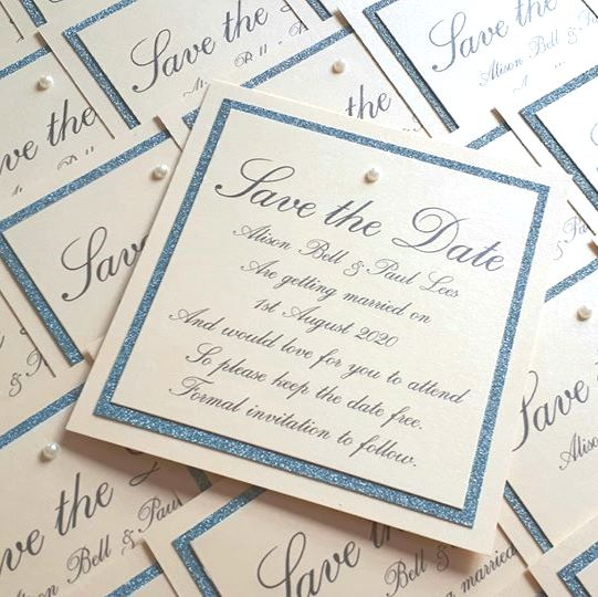 Square glitter border and pearl save the dates