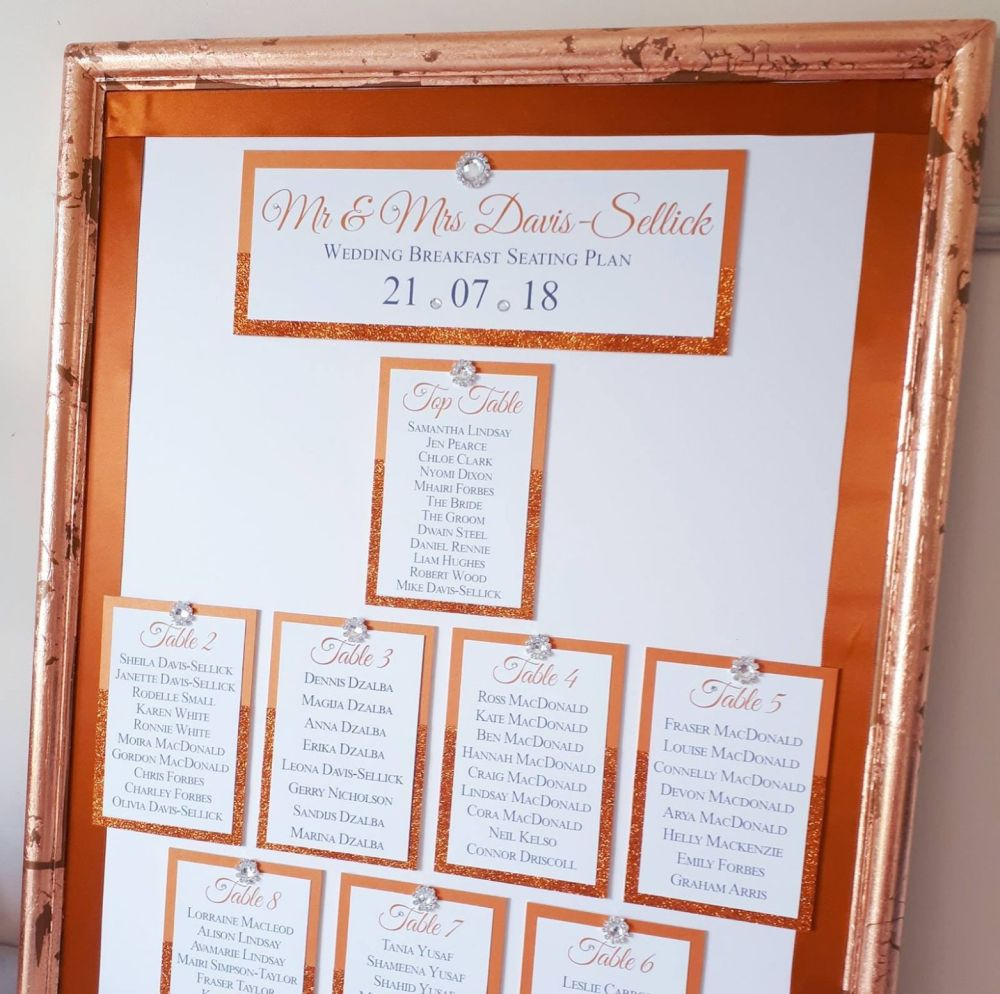 Large framed and embellished table seating plan