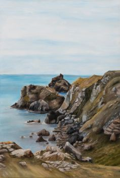 'Looking West' Kynance Cove, Cornwall.  Original painting.