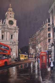 St Pauls in the Rain, original oil painting