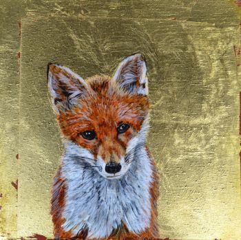 "Foxy,  Original Painting,  size 6 "" x 6 """