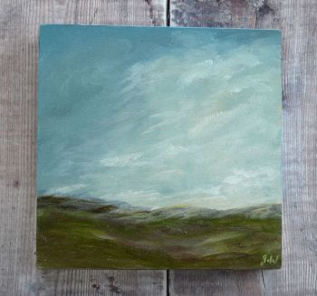 "Away to the Hills.  Original painting.  Size 6"" x 6"""