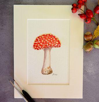 Fly Agaric Mushroom, Original Watercolour.