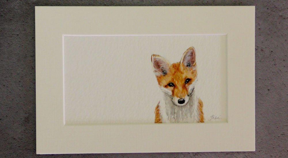The Little Fox Cub, Original Watercolour.