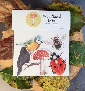 Woodland Mix. Wildlife Stickers.