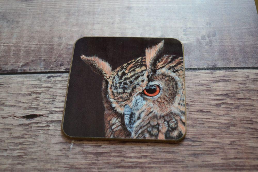 Owl Coaster - Coasters - Wildlife Coaster - European Eagle Owl - Kitchenwar