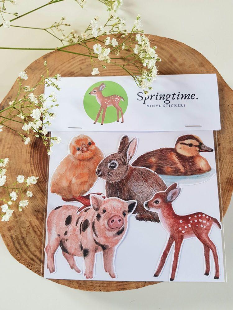Springtime Stickers - Wildlife Stickers - Fawn Sticker - Bunny Sticker - Ch