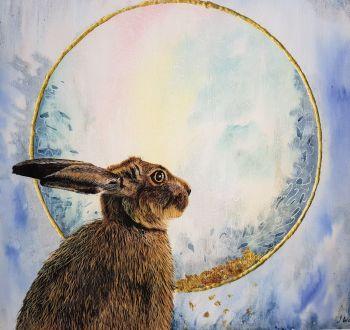 """The Hare's Stare, 14"""" x 14"""" Print."""