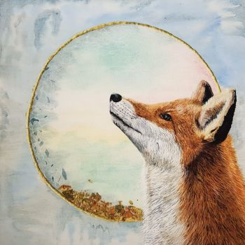 "The Fox's Wish, 14"" x 14"" Print."