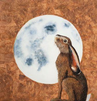 "Moon Gazing Hare Print. 14"" x 14""."