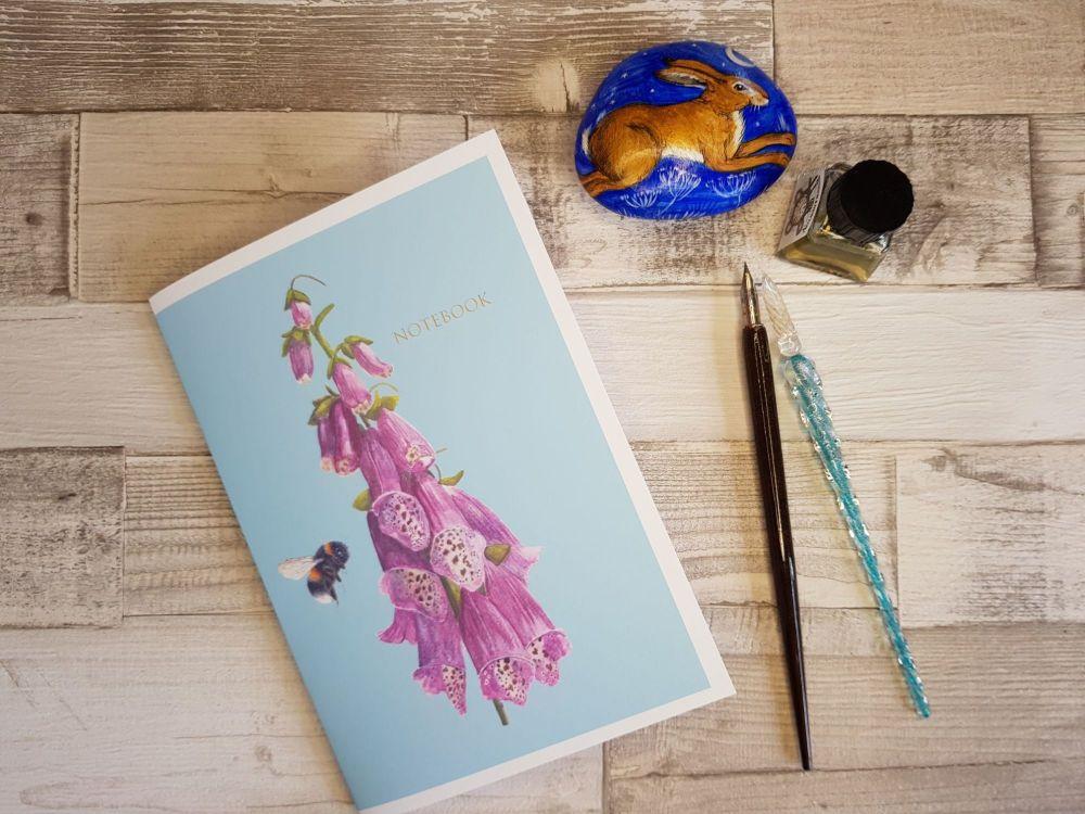 A5 Handmade Foxglove & Bee Notebook.