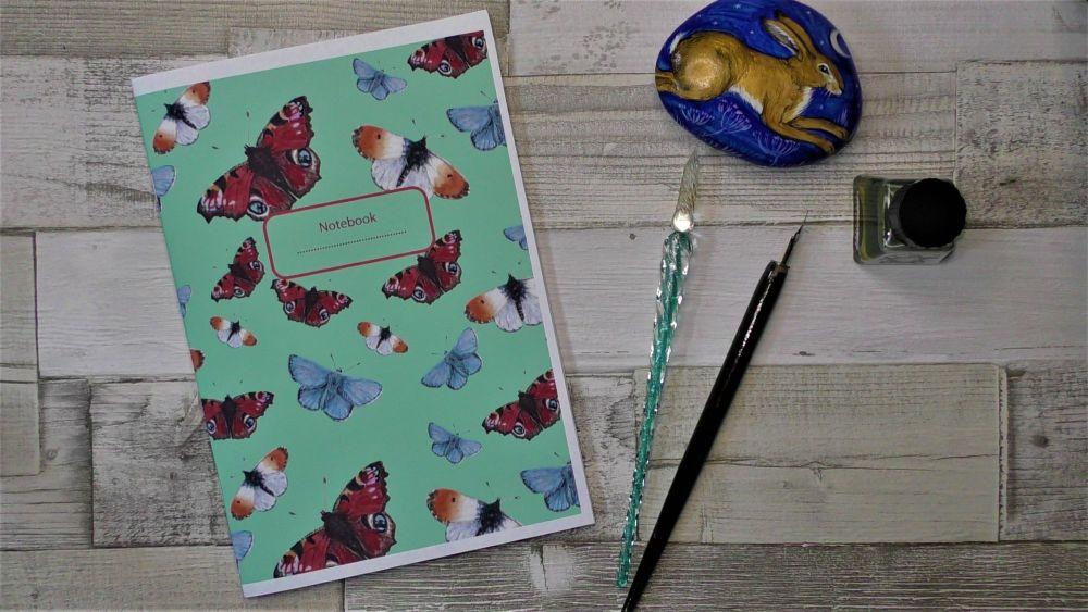 Butterfly Notebook , A5 Notebook - Butterflies - Journal - Stationary - Han