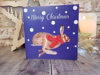 Running Hare Christmas Card