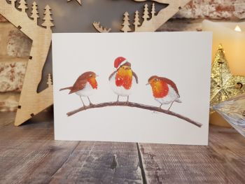 Robins on a Branch Christmas Card