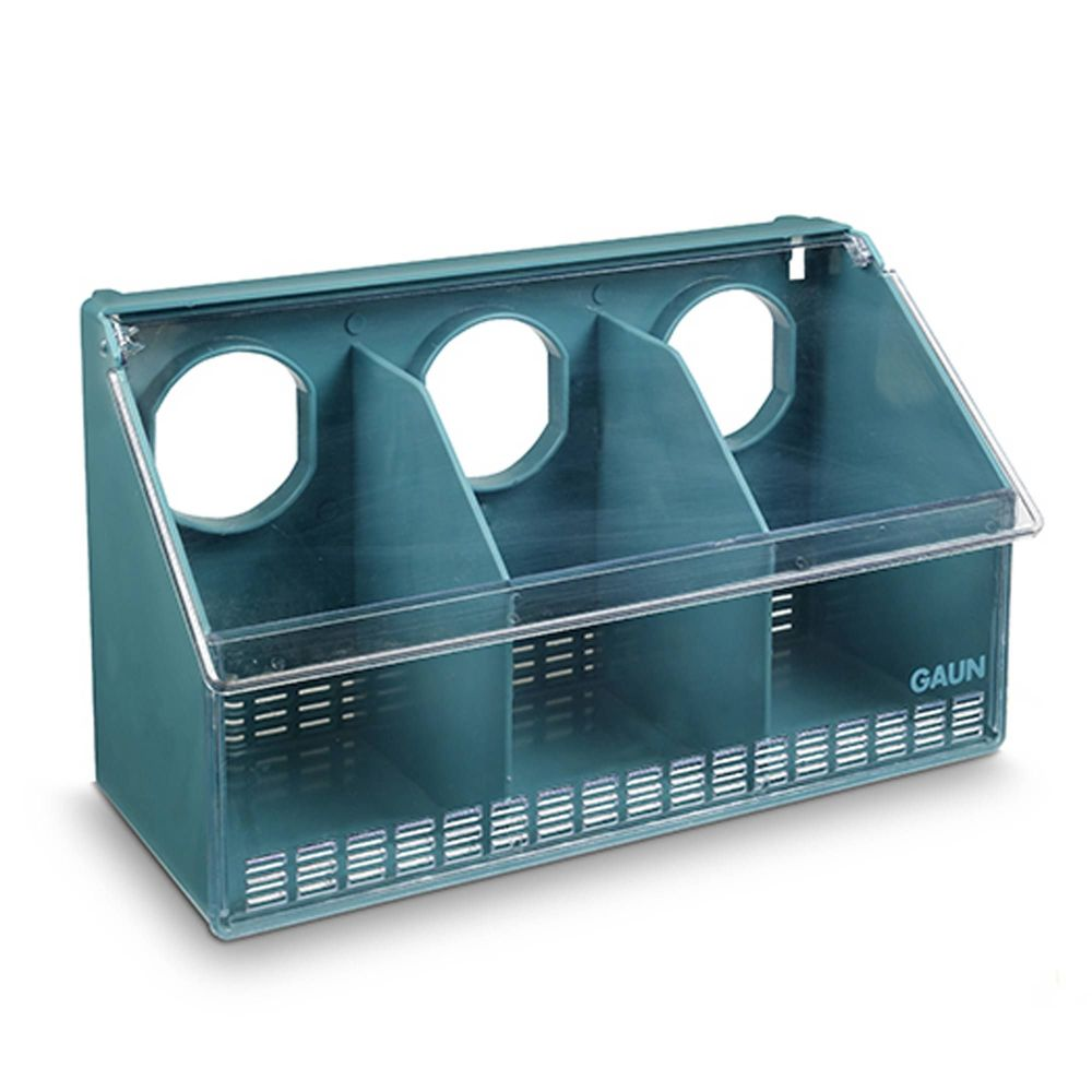 Pigeon Budgie Finch Bird Feeder - 3 Hole  - Clip on, clear front and lid