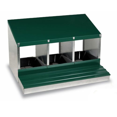 3 Bay Nest Box  - Metal with Rollaway egg collection
