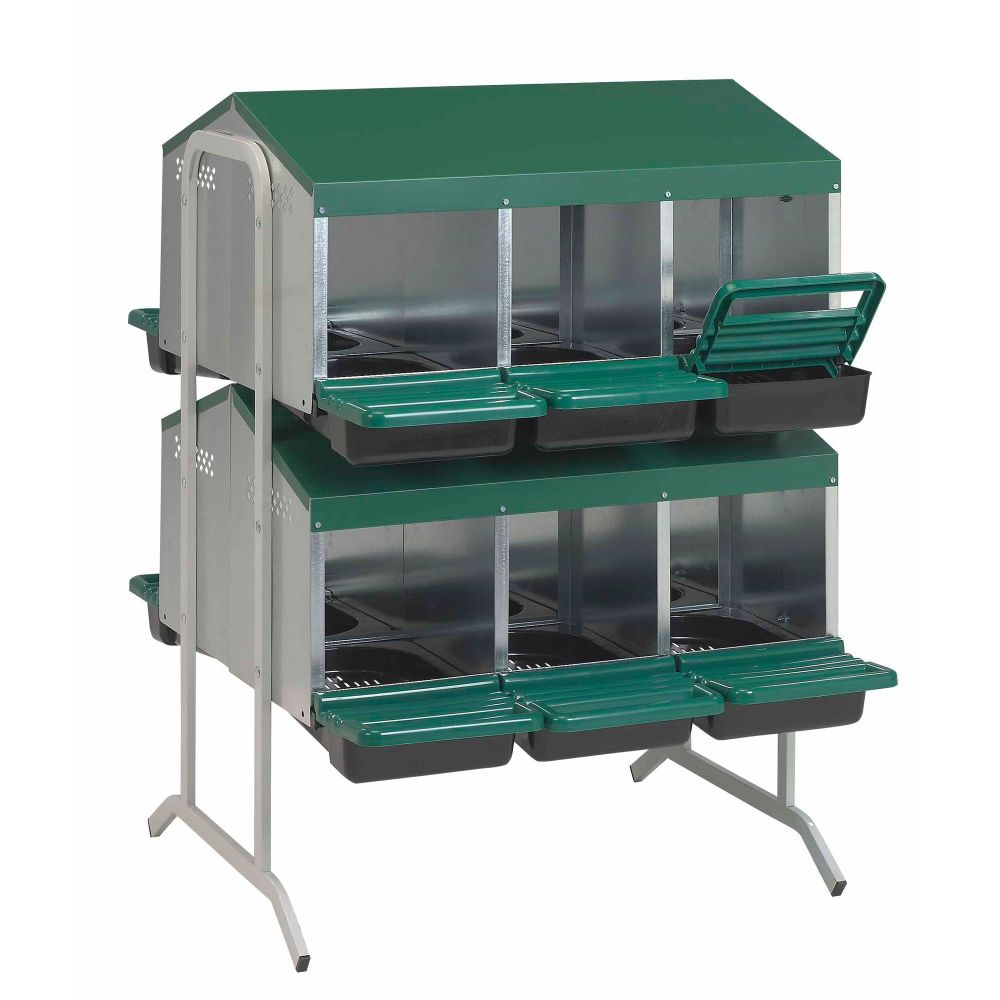 12 Bay Nest Box  - Stand Alone Metal with Rollaway egg collection
