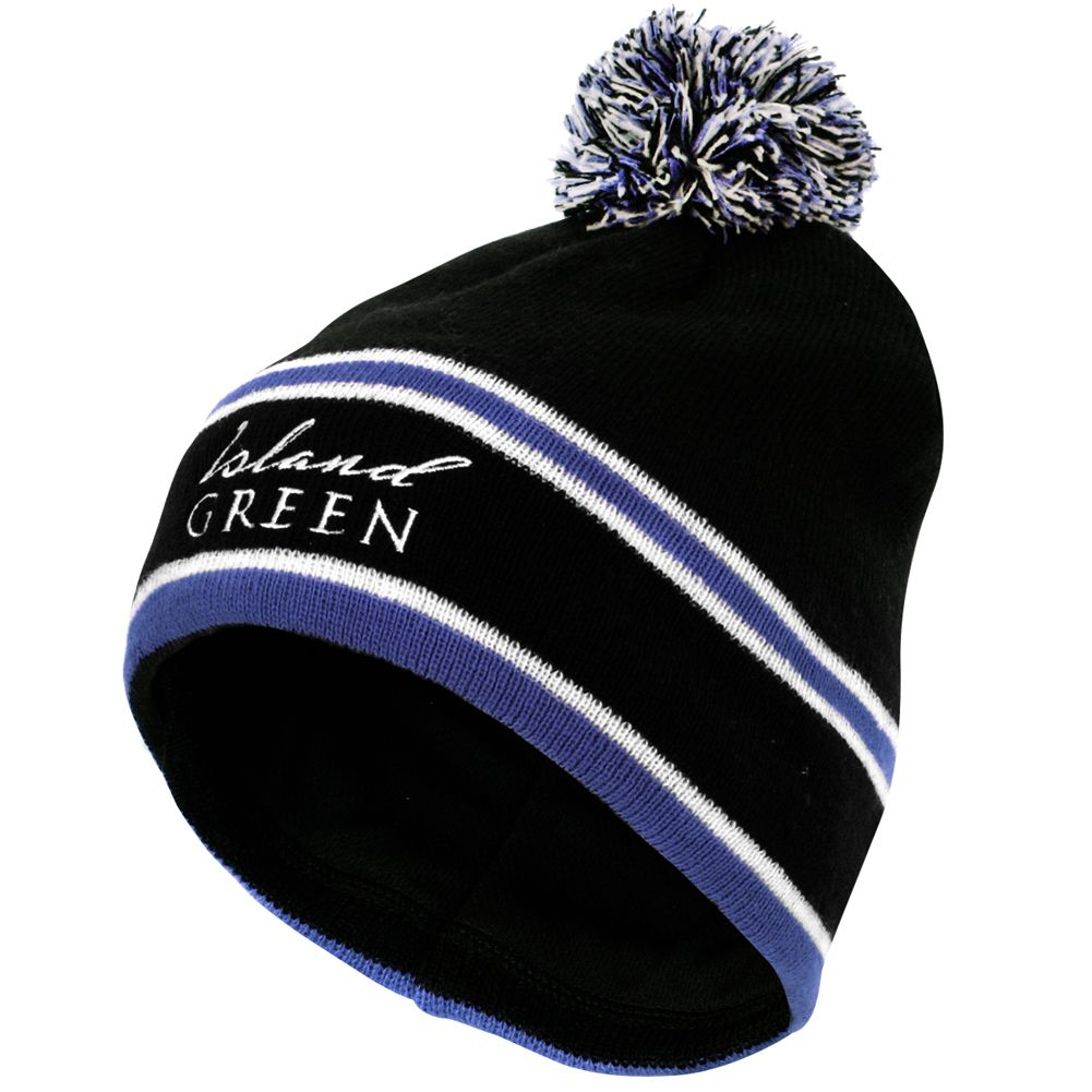 Island Green Knitted Stripe Bobble Hat (Navy)