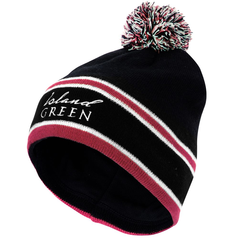 Island Green Knitted Stripe Bobble Hat (Deep Red)